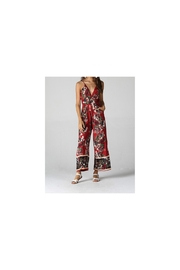 Angie Red Floral jumpsuit with pockets and wide legs - Product Mini Image