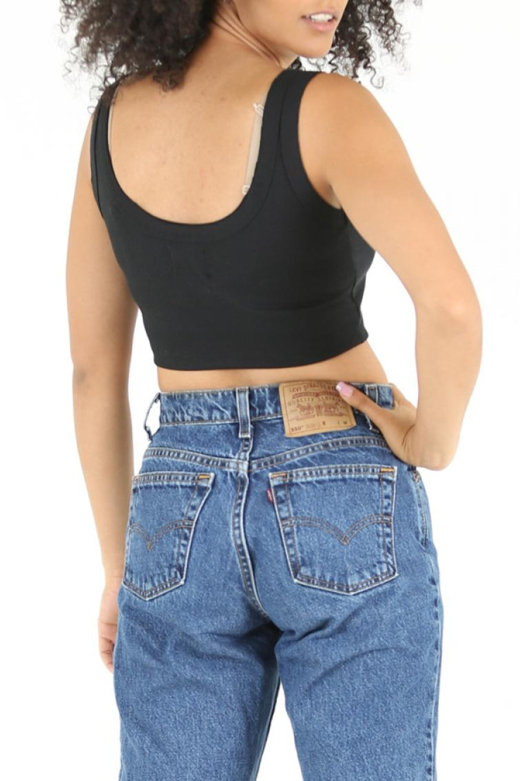 Angie Ribbed Crop Tank - Side Cropped Image