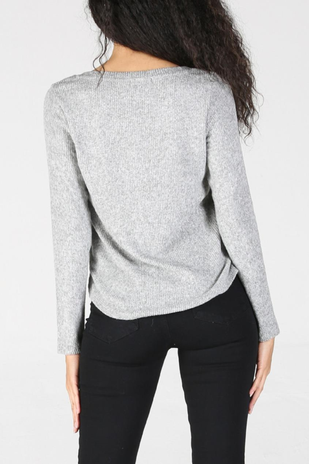 Angie Ribbed Henley - Side Cropped Image