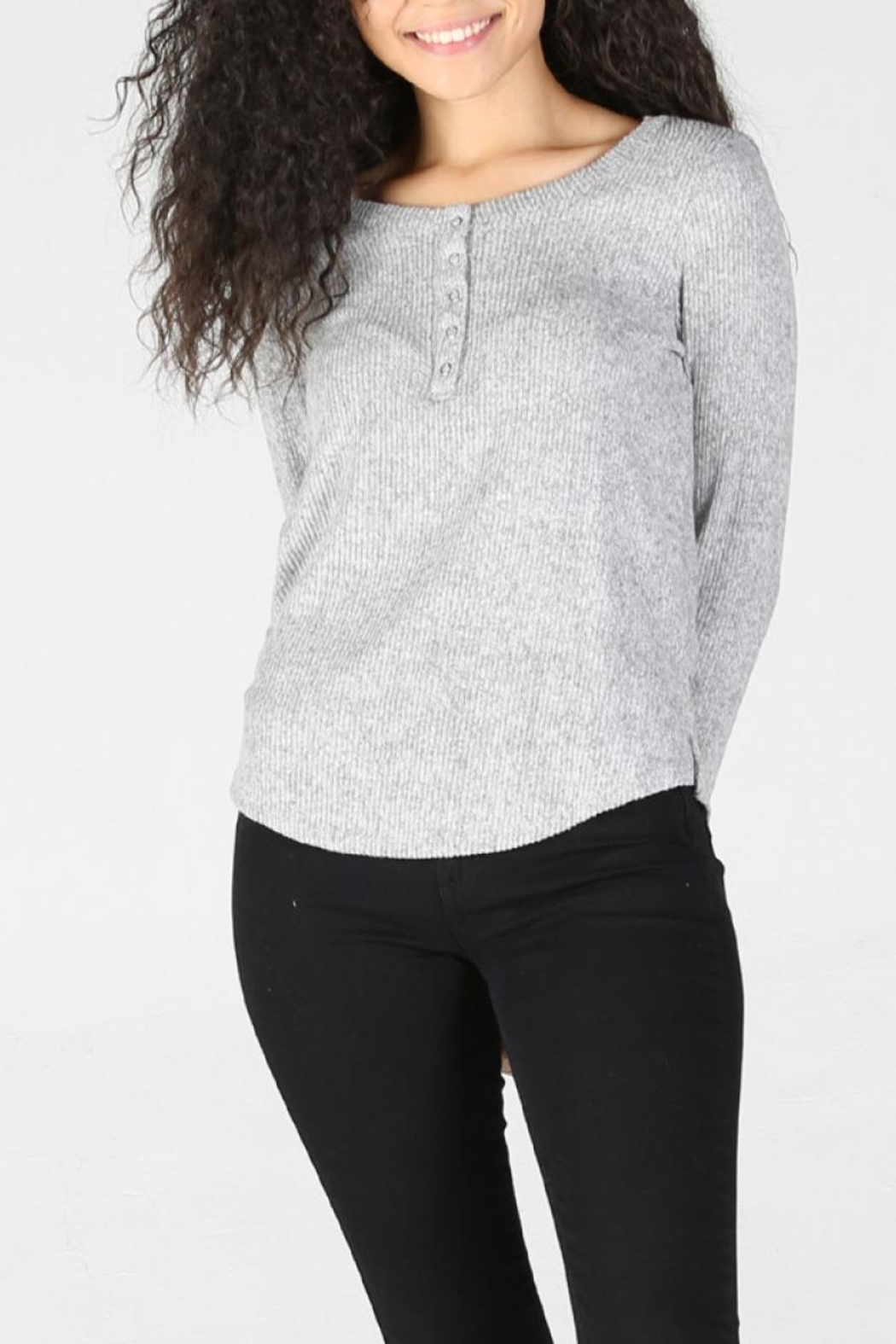 Angie Ribbed Henley - Front Full Image