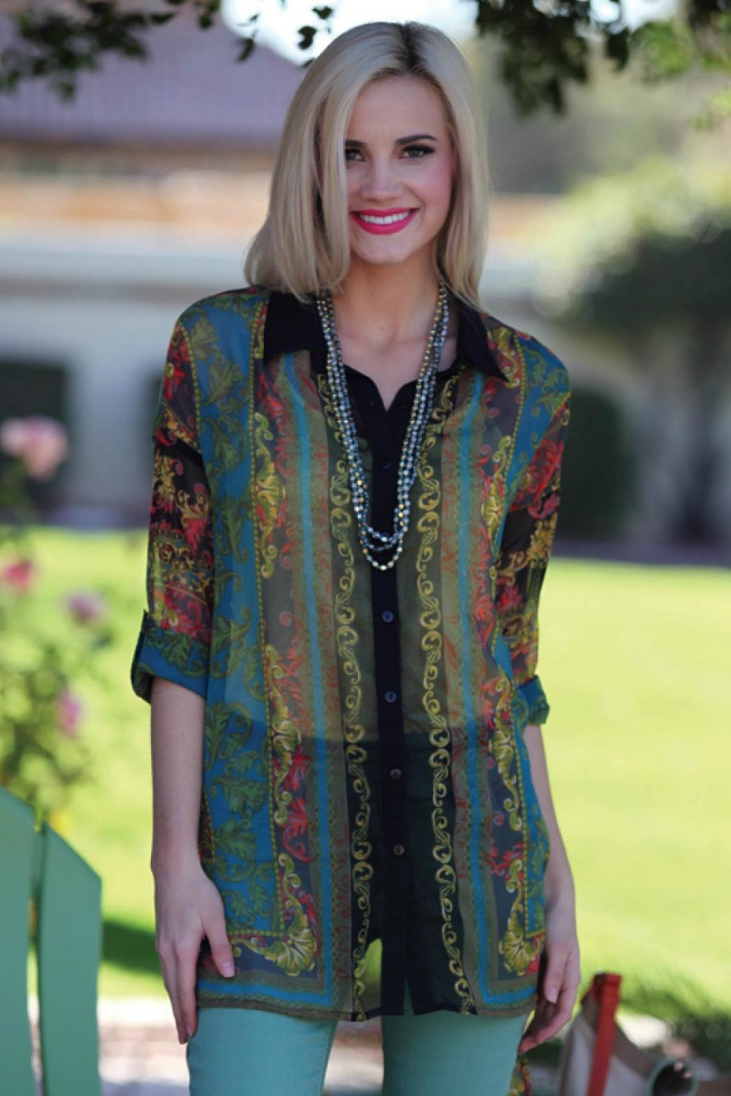 Angie Clothes Sheer Vintage Print Tunic Top - Main Image