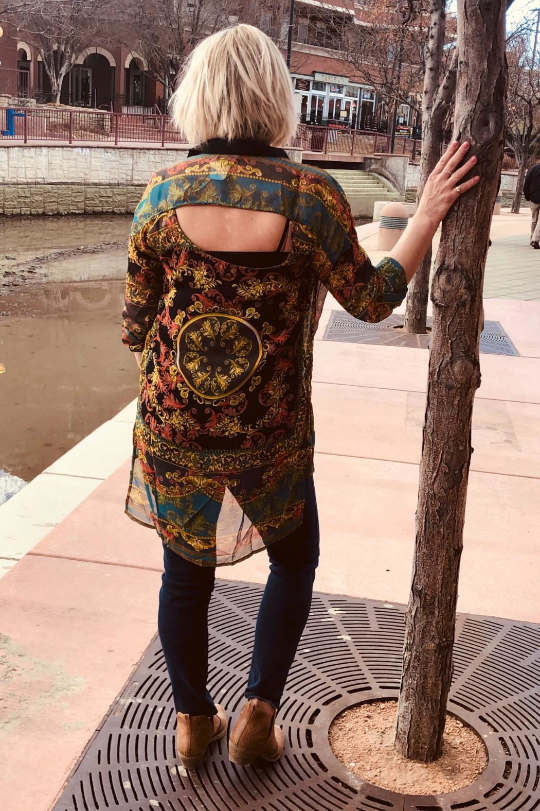 Angie Clothes Sheer Vintage Print Tunic Top - Front Full Image