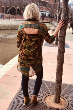 Angie Clothes Sheer Vintage Print Tunic Top - Alternate List Image