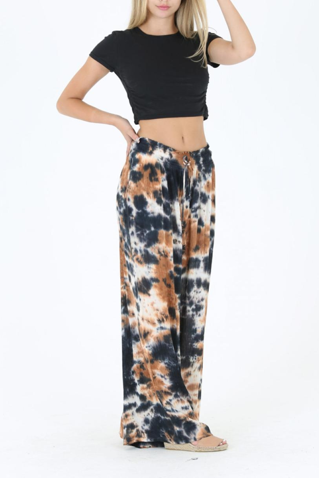 Angie Tie Dye Wide Leg Pant - Side Cropped Image