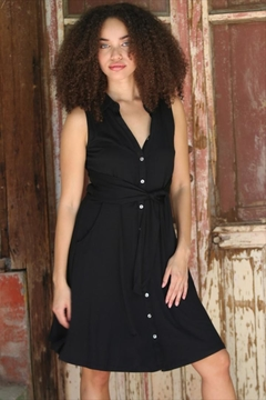 Angie Tie Front Shirtdress - Product List Image