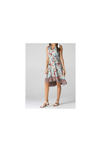 Angie Turquoise floral print tank dress with contrast ruffle print from Colorado by Back In Love —