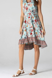 Angie Turquoise Floral Ruffle Dress - Product Mini Image
