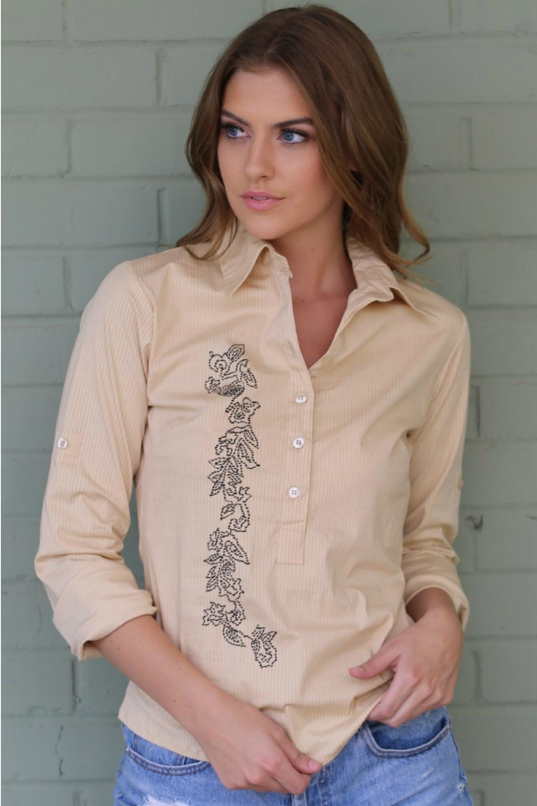 Angie Clothes Yellow/black Embroidered Shirt - Main Image