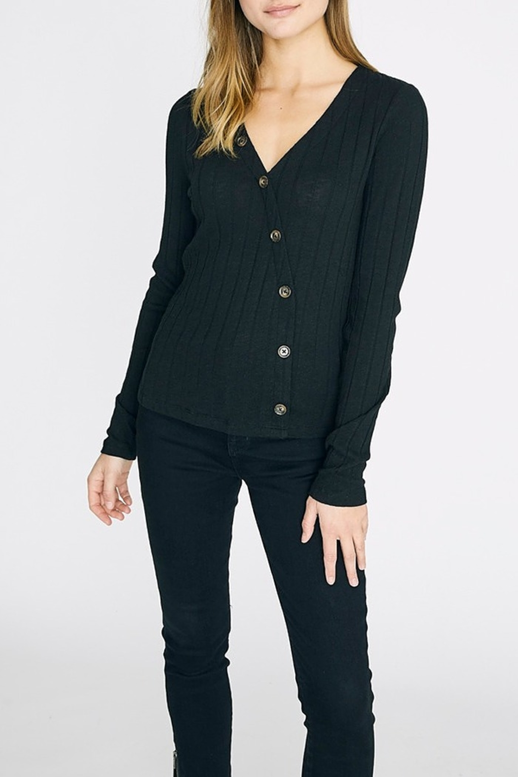 Sanctuary Angle-Button Black Top - Front Cropped Image