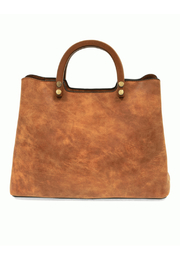 Joy Susan  Angle Vintage Satchel with wood handle - Front cropped