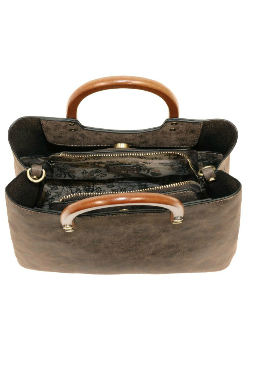Joy Susan  Angle Vintage Satchel With Wood Handle - Front Full Image