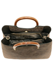 Joy Susan  Angle Vintage Satchel With Wood Handle - Front full body