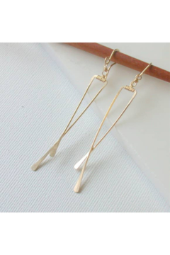 LINDA TRENT JEWELRY ANGLED CRISSCROSS EARRINGS-14K GOLD FILL - Alternate List Image