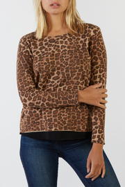 Mila Animal Contrast Raw Hem L/S Top - Product Mini Image