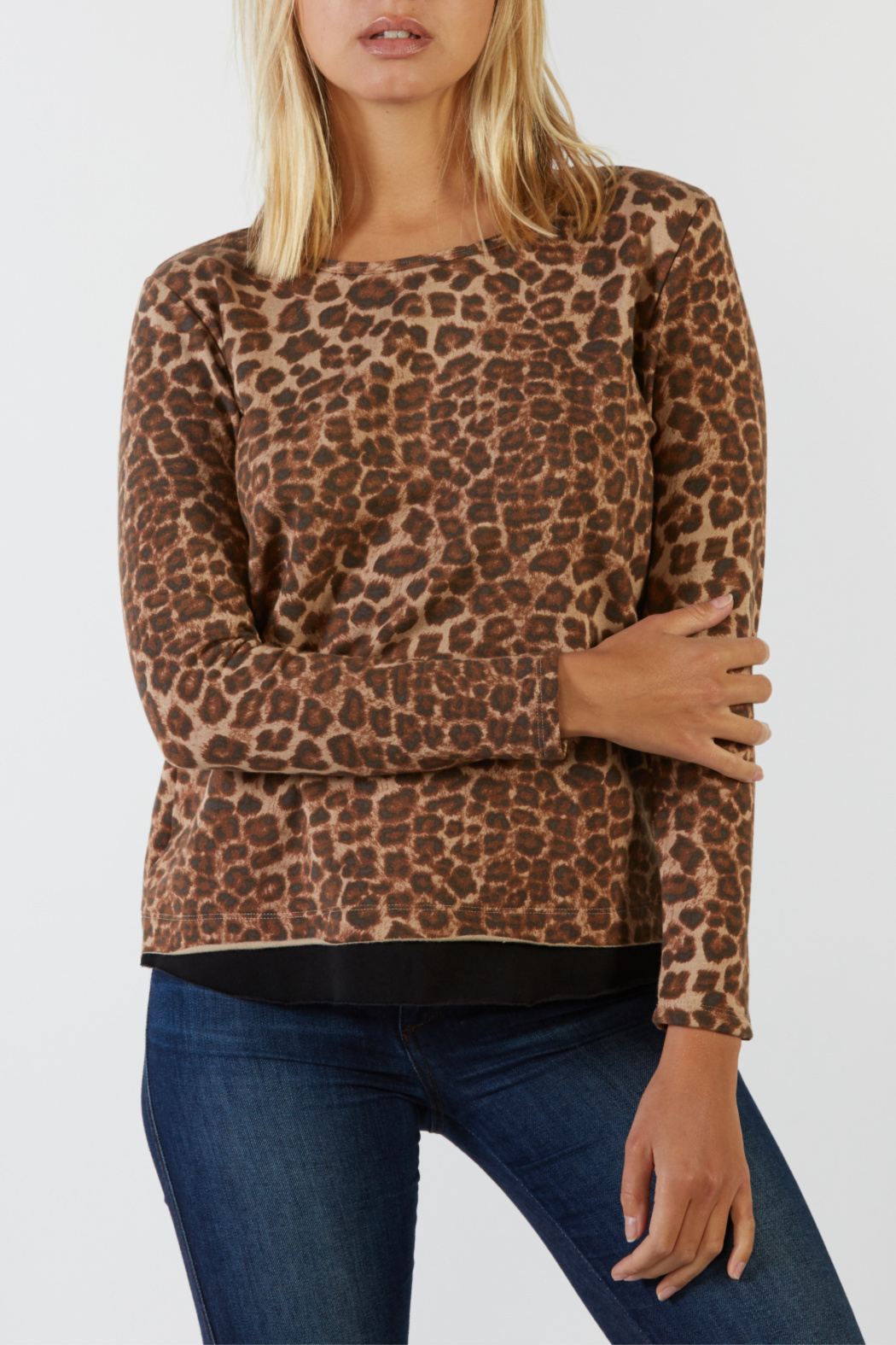 Mila Animal Contrast Raw Hem L/S Top - Front Cropped Image