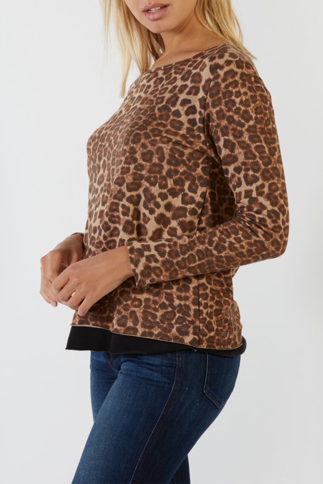 Mila Animal Contrast Raw Hem L/S Top - Front Full Image