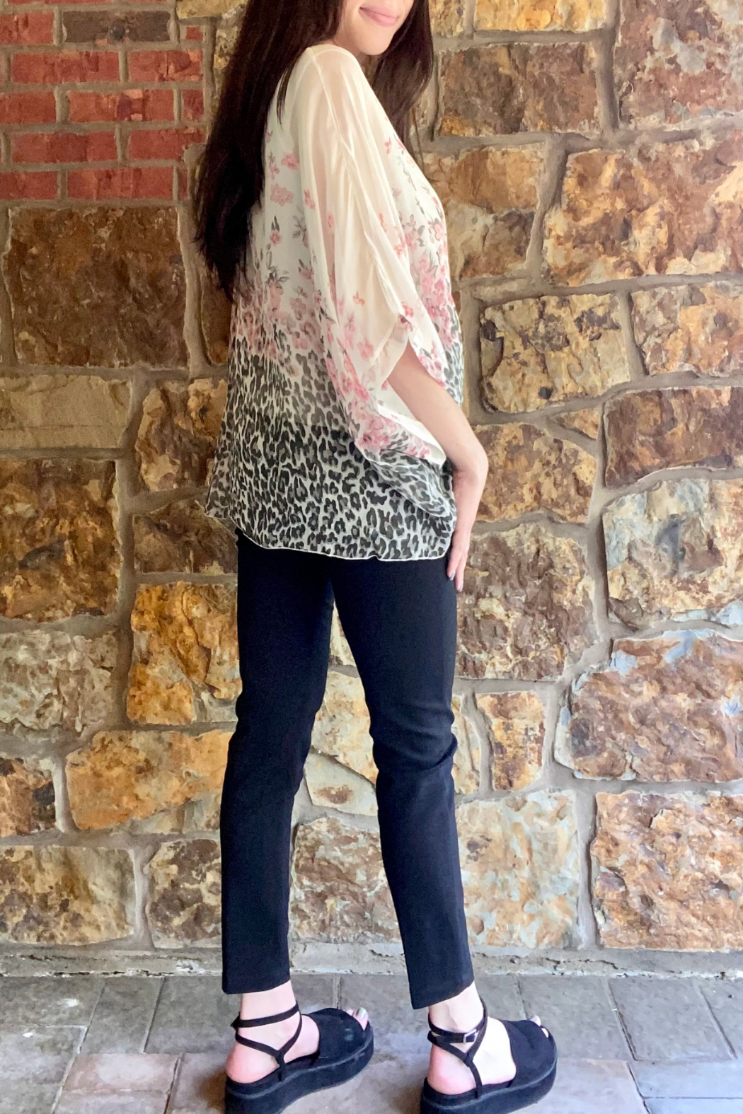 Lola Made in Italy Animal/Floral Print Dolman Blouse - Side Cropped Image