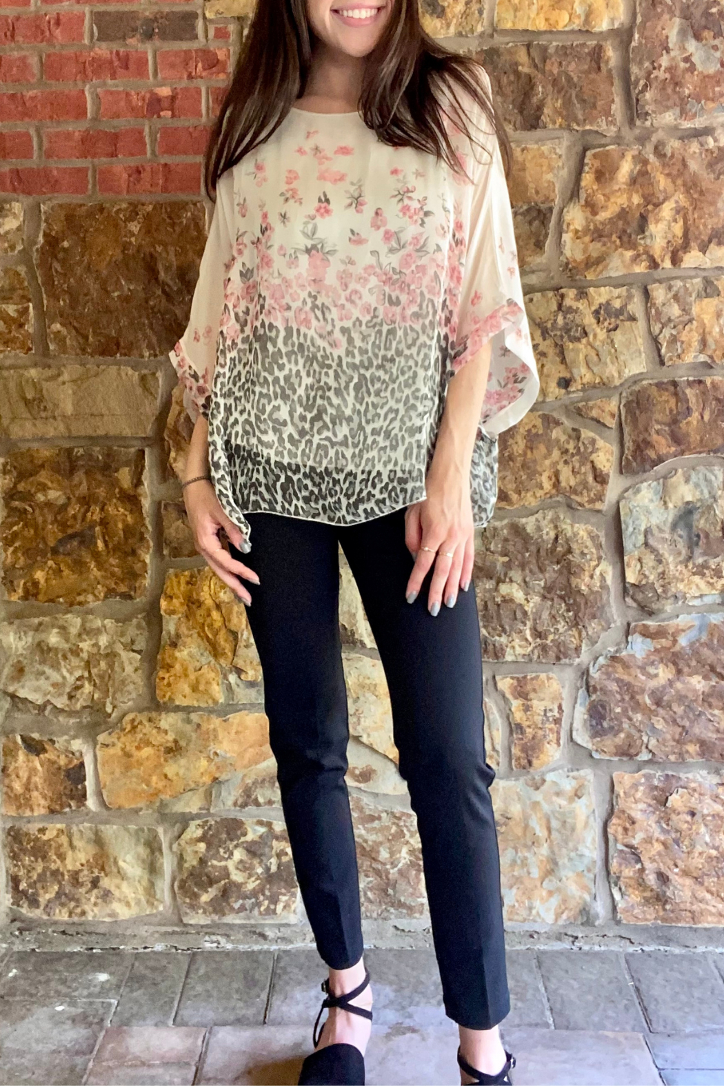 Lola Made in Italy Animal/Floral Print Dolman Blouse - Main Image