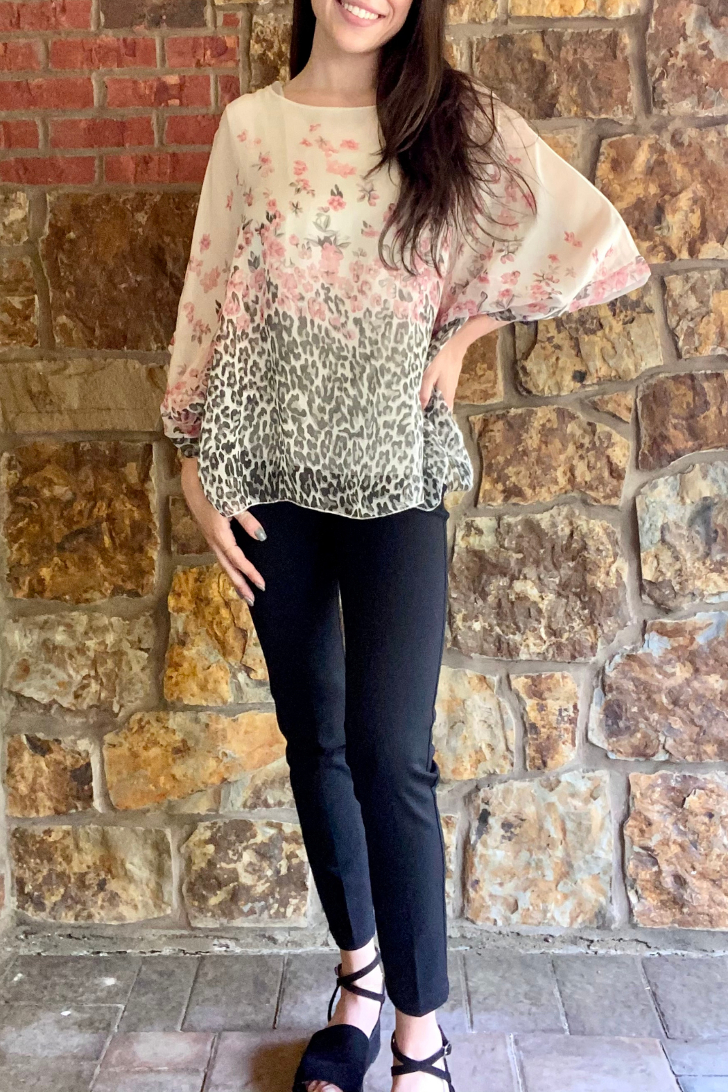 Lola Made in Italy Animal/Floral Print Dolman Blouse - Front Full Image