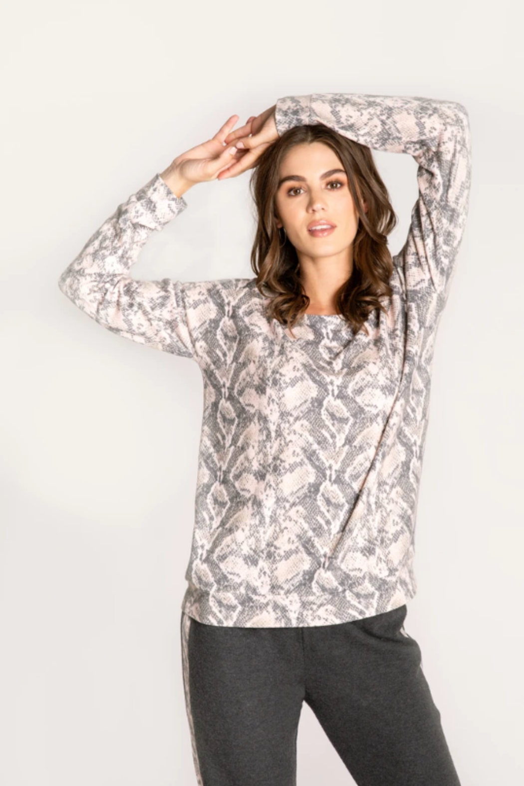 PJ Salvage Animal instincts long sleeve top - Front Full Image