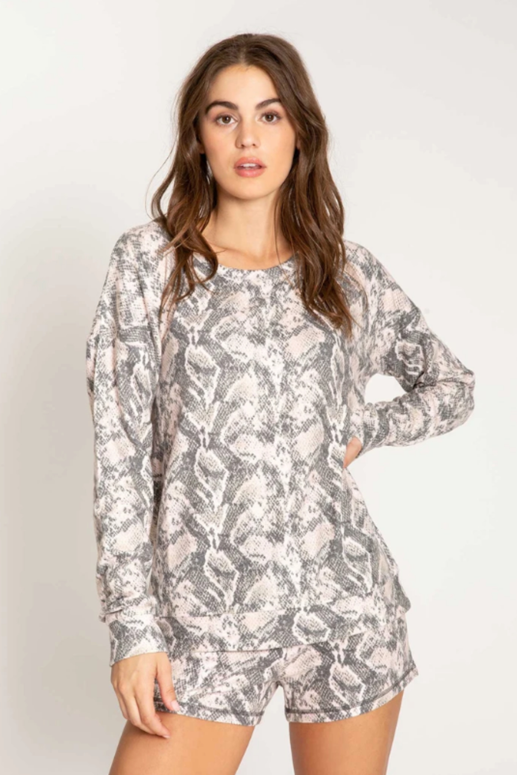 PJ Salvage Animal instincts long sleeve top - Front Cropped Image