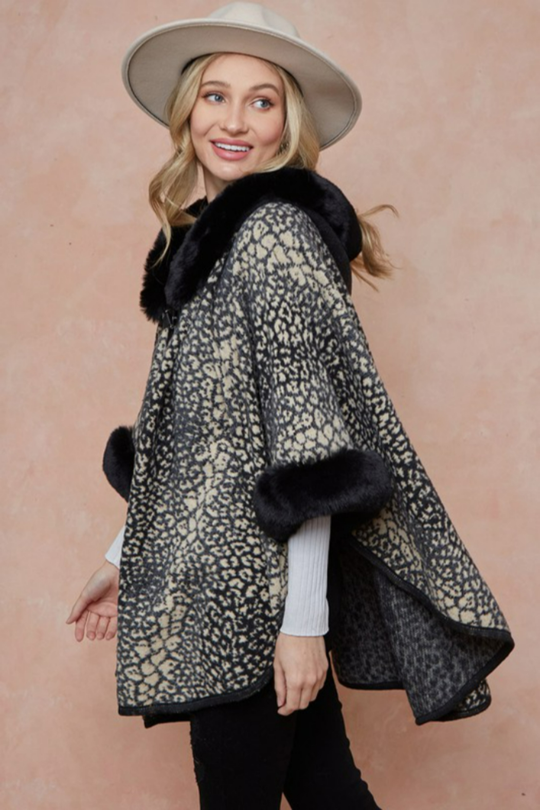 On Blue Animal Pattern Faux Fur Trimmed Poncho - Front Full Image