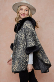 On Blue Animal Pattern Faux Fur Trimmed Poncho - Front full body
