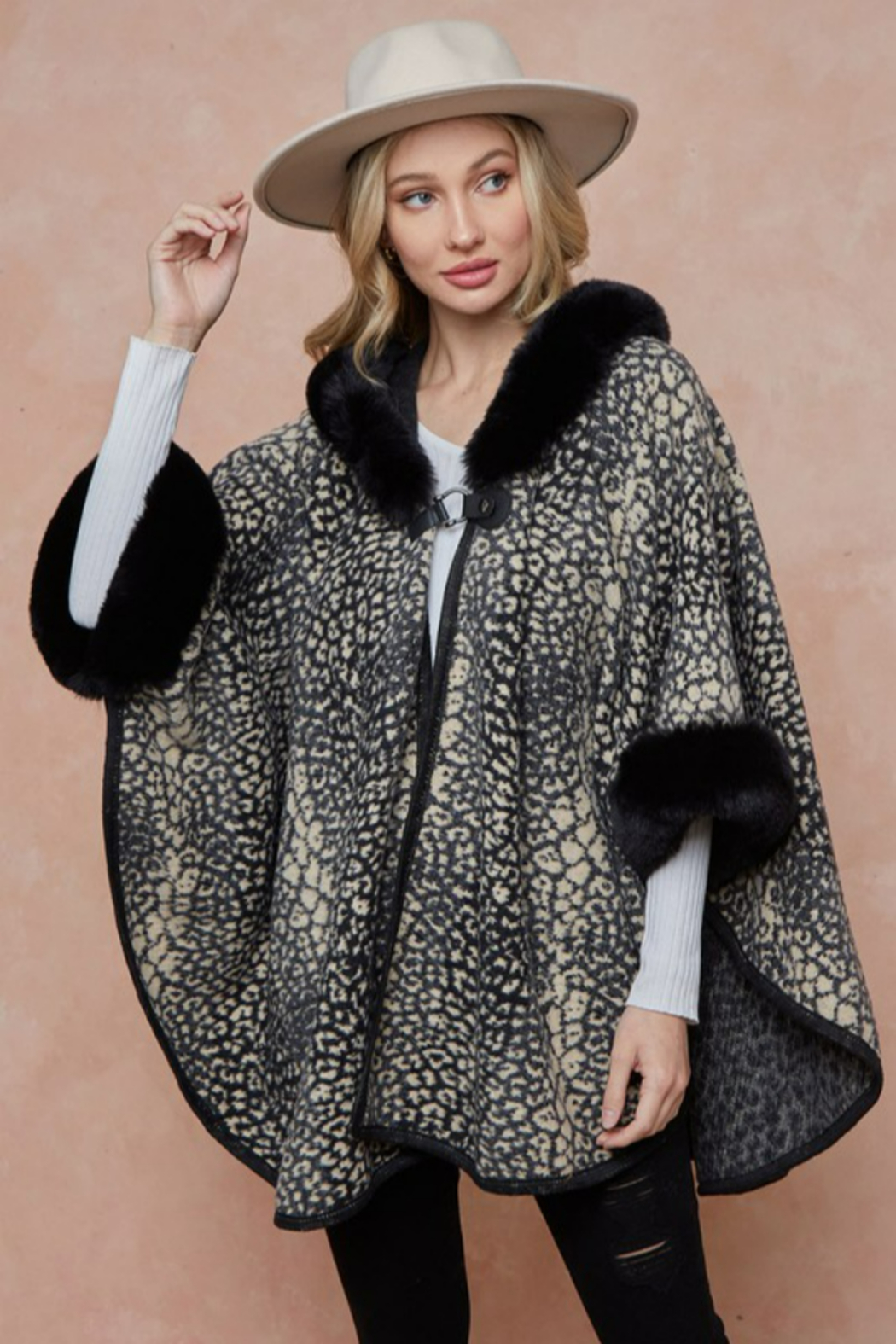On Blue Animal Pattern Faux Fur Trimmed Poncho - Main Image