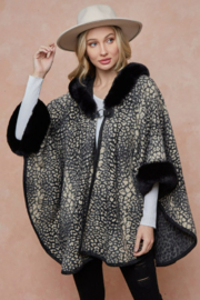 On Blue Animal Pattern Faux Fur Trimmed Poncho - Product Mini Image
