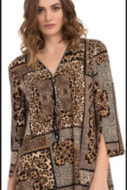 Joseh Ribkoff Brown animal print half-zip top. - Product Mini Image