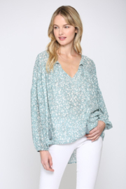 Fate Animal Print Balloon Sleeve Top - Front cropped