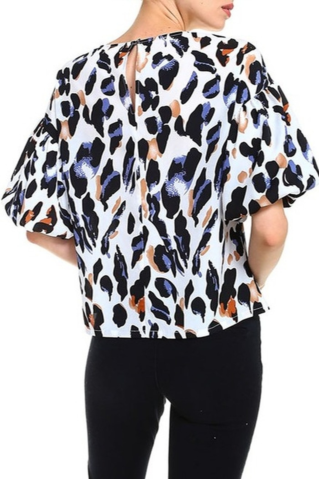 TCEC Animal Print Balloon Sleeve Top - Front Full Image