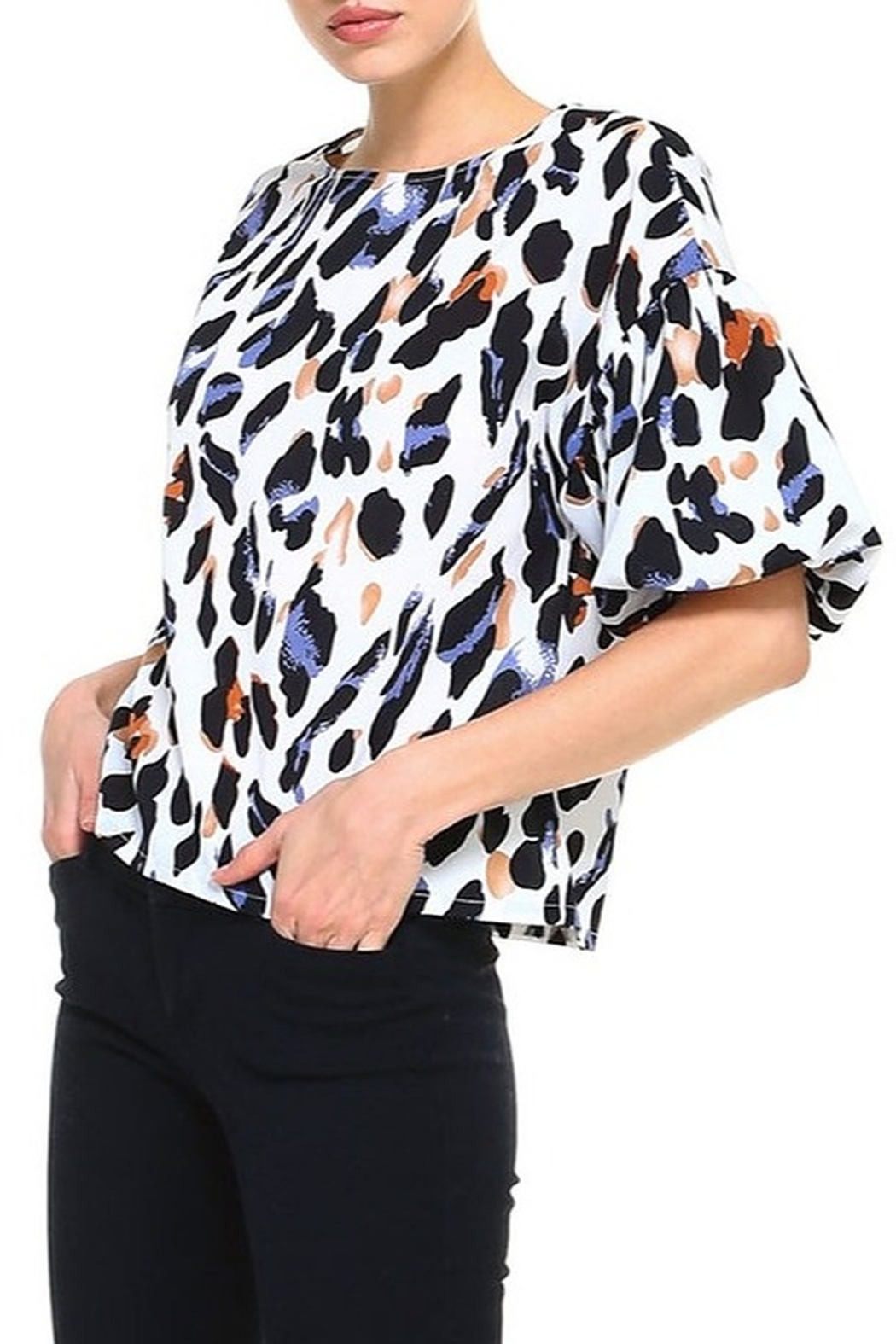 TCEC Animal Print Balloon Sleeve Top - Side Cropped Image