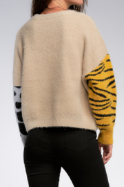 Elan  Animal Print Block Sweater - Product Mini Image