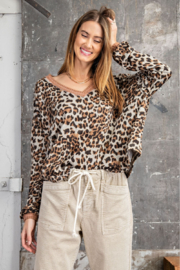 easel  Animal Print V-Neck - Front cropped