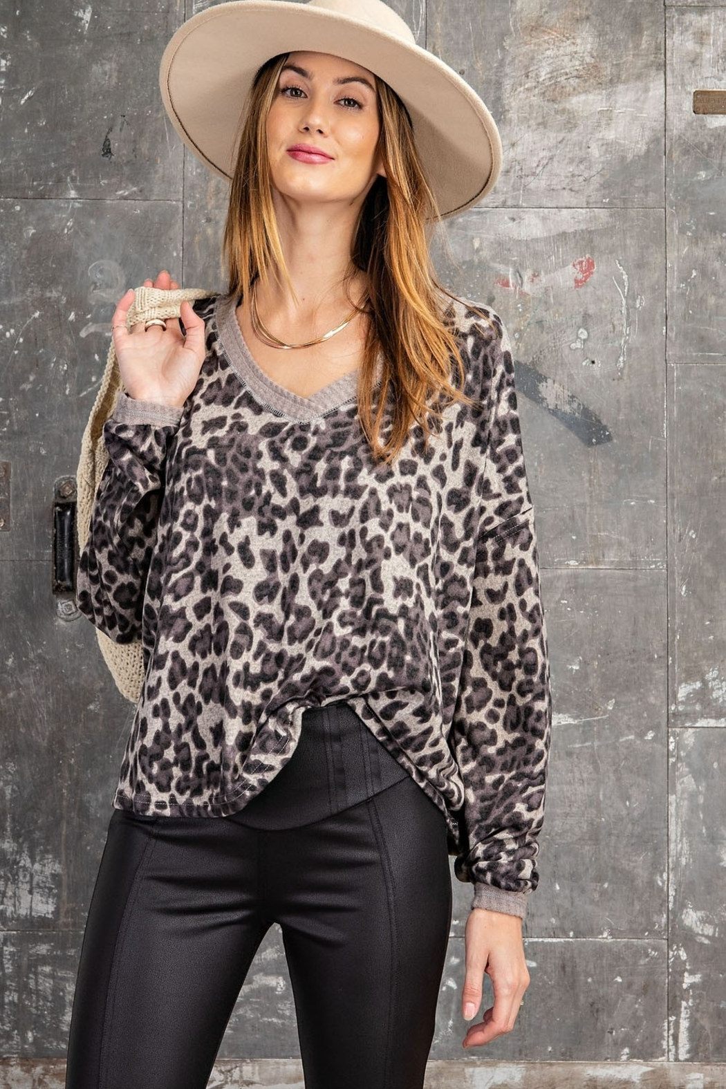 easel  Animal Print V-Neck - Front Cropped Image