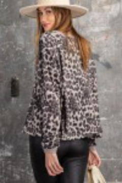 Shoptiques Product: ANIMAL PRINT BRUSHED HACCI KNIT V NECK TOP