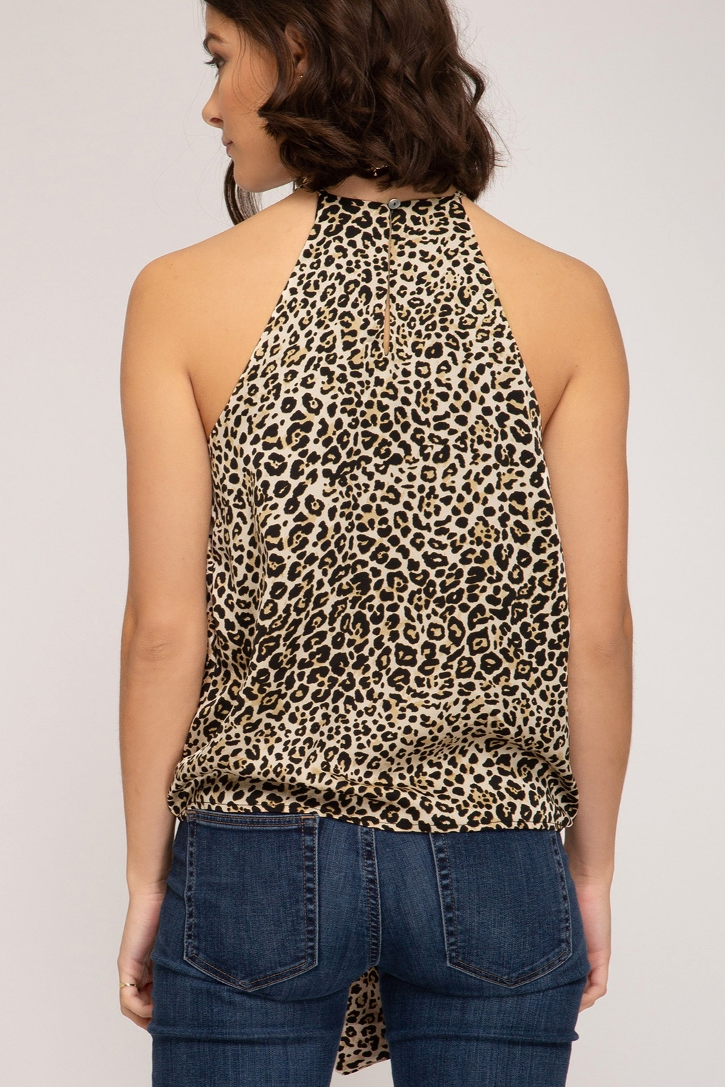 She and Sky Animal Print Cami Top - Front Full Image