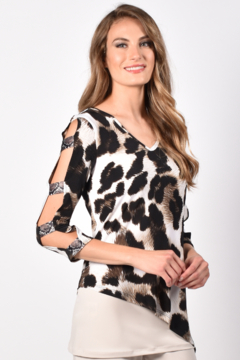 Frank Lyman Animal Print Cold Shoulder Tunic Top - Product List Image