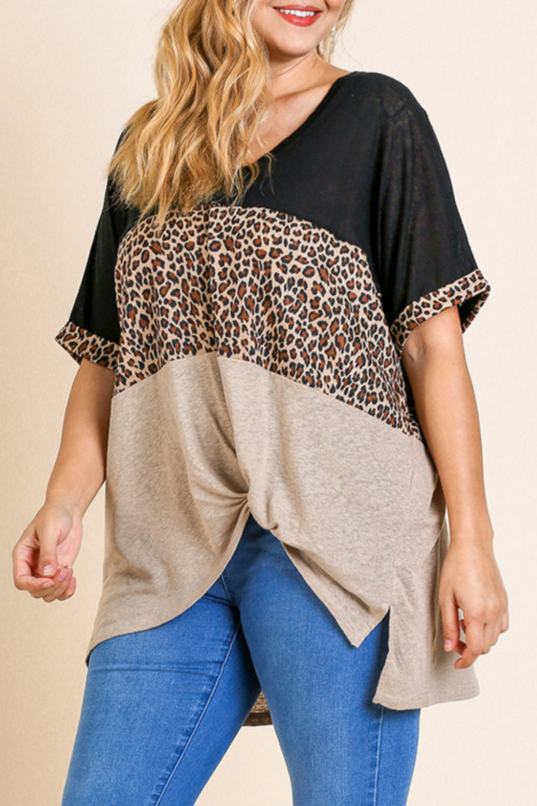 Umgee  Animal Print Color Block Top Curvy - Main Image