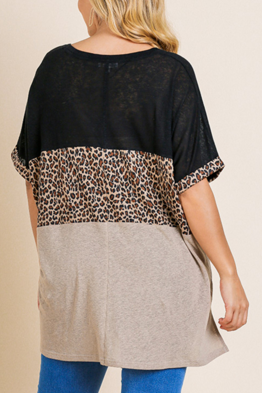Umgee  Animal Print Color Block Top Curvy - Front Full Image