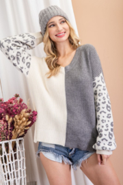 eesome Animal Print Contrast Knit - Product Mini Image