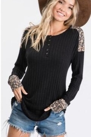 Ces Femme Animal Print Contrast Top - Product Mini Image