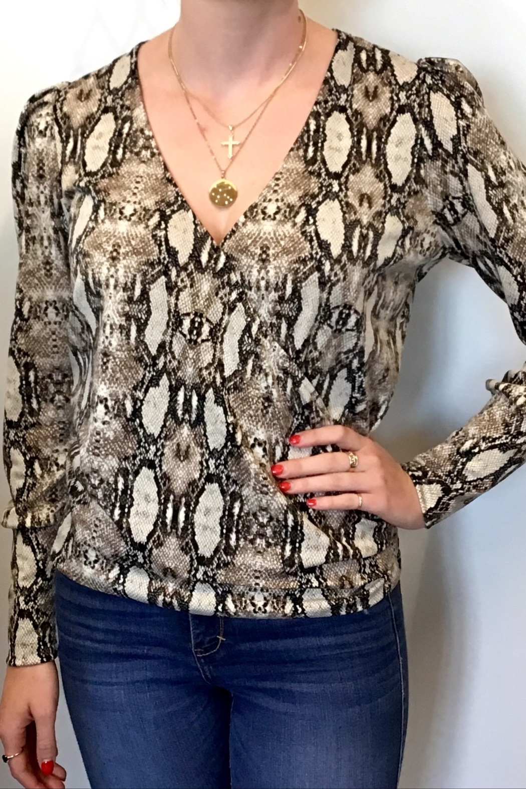 Veronica M Animal Print Crossover Top - Front Cropped Image