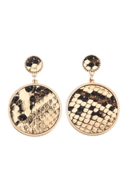 Riah Fashion Animal-Print Disc-Leather Inset-Earrings - Product Mini Image