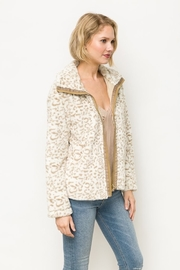 Mystree Animal Print Faux Fur Jacket in Ivory - Front cropped