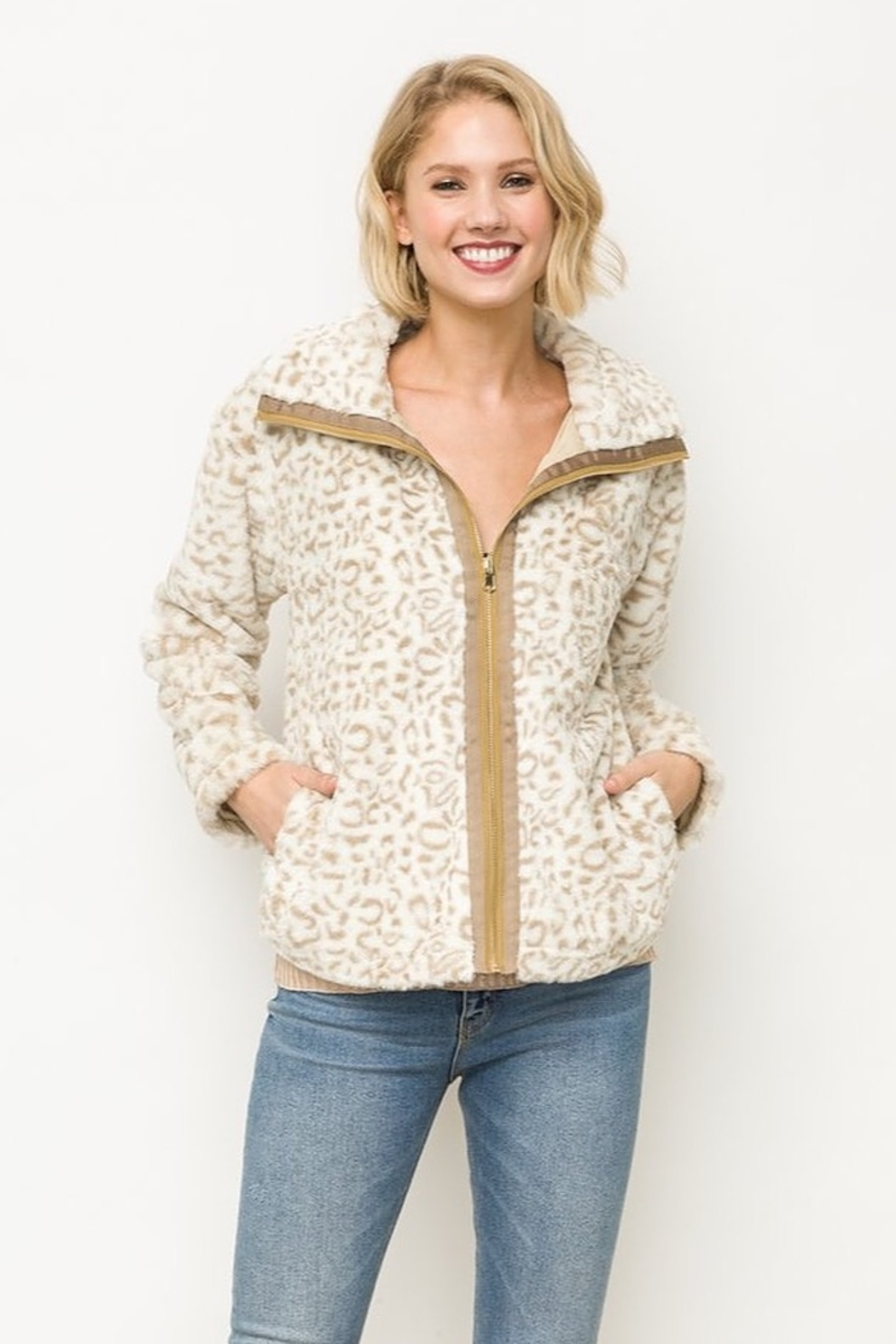 Mystree Animal Print Faux Fur Jacket in Ivory - Front Full Image