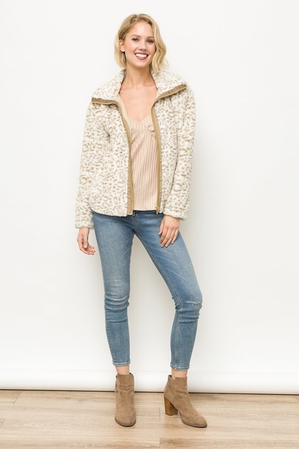 Mystree Animal Print Faux Fur Jacket in Ivory - Back Cropped Image