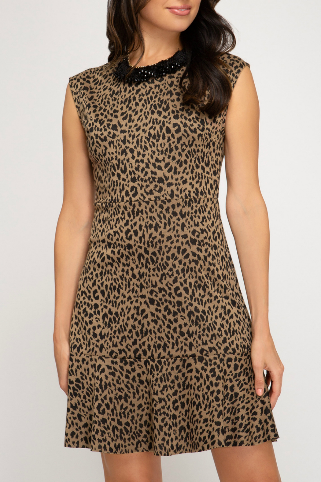 She + Sky Animal print fit and flare dress - Front Cropped Image