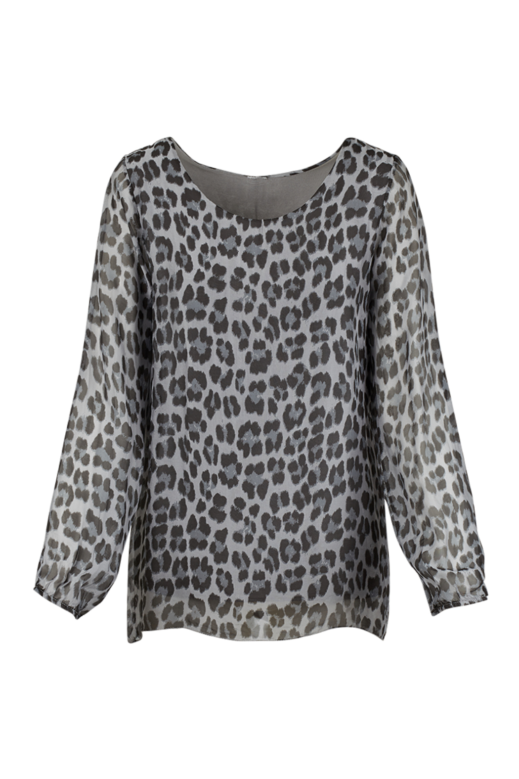 M made in Italy Animal Print Flowy Blouse - Main Image